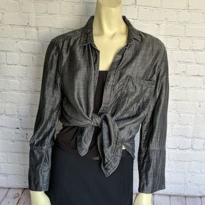 cloth & stone Anthropologie Charcoal Chambray Top